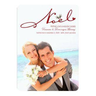 Noel Mistletoe First Christmas Wedding Photo Card 13 Cm X 18 Cm Invitation Card