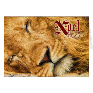 Noel Peace on Earth Lion Painting Card