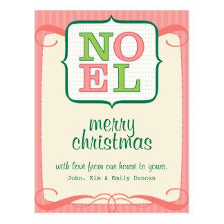 Noel Personalized Christmas Postcard