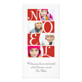 NOEL Puzzle in Red Christmas Greeting Card Customised Photo Card