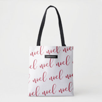 Noel | Red and White Christmas Script with Name Tote Bag