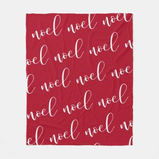 Noel   Red Christmas Script Fleece Blanket