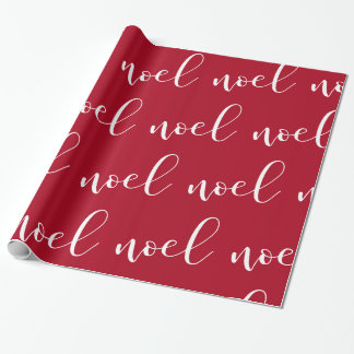 Noel | Red Christmas Script Wrapping Paper
