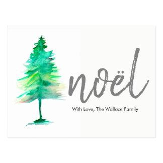 Noël, Watercolour Christmas Tree, Holiday Postcard