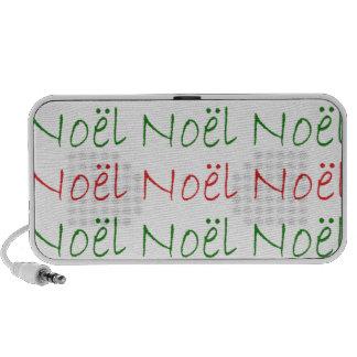 Noel word printed green and red laptop speakers