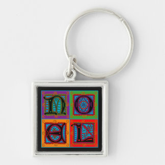 Noël Word Typography Holiday Greeting Silver-Colored Square Key Ring