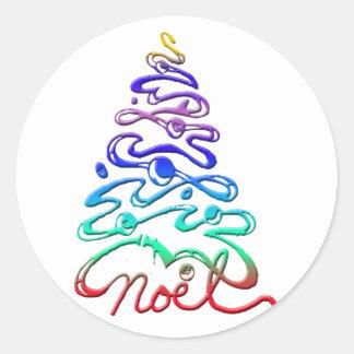 Noel Xmas Tree Classic Round Sticker