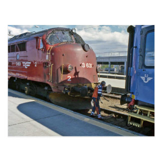 NOHAB diesel when coupled in front of Sweden train Postcard