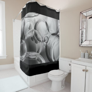 Noir Bubbles Shower Curtain
