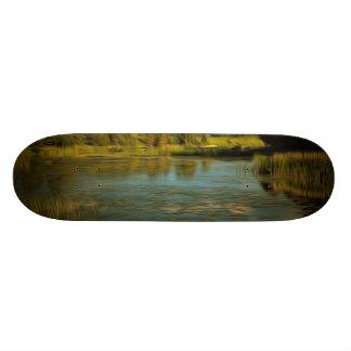Noir view of a lake custom skateboard