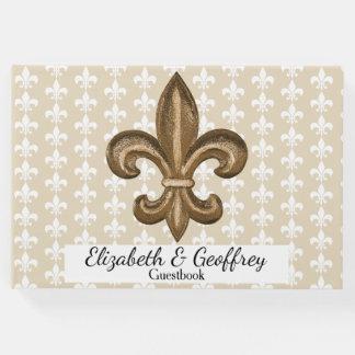 Nola Gold & White French Fleur De Lis Wedding Guest Book