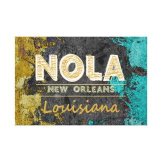 NOLA Louisiana Gold, Gray, Turquoise Canvas Print