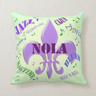 NOLA New Orleans Music Throw Pillow