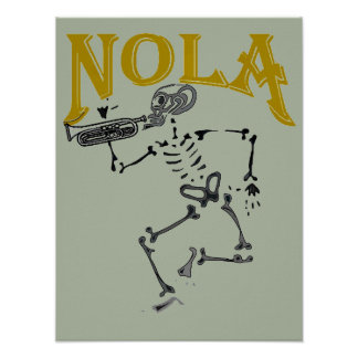 NOLA Skeleton with Horn Poster
