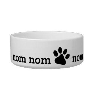 nom nom nom pet food bowl with paw cat bowl