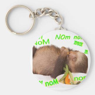 nom nom nom sloth basic round button key ring