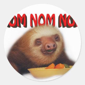 nom nom nom round sticker