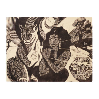Nomad and Wild Cat Ethnic Wood Wall Art