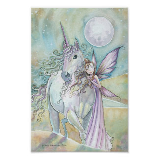 Nomads of the Mystic Dunes Fairy Unicorn Poster