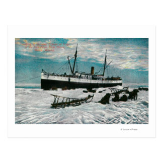 Nome, Alaska View of Steamer on Ice Edge Postcard