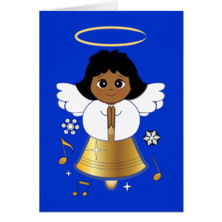 Non-Denominational Bell Angel with Music Notes Greeting Card