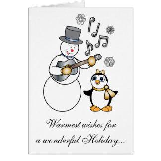 Non-Denominational Holidays Snowman and Penguin Card