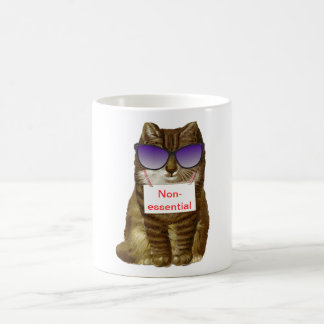 Non-Essential Hipster Cat Classic White Coffee Mug
