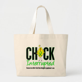 Non-Hodgkins Lymphoma Chick Interrupted Large Tote Bag