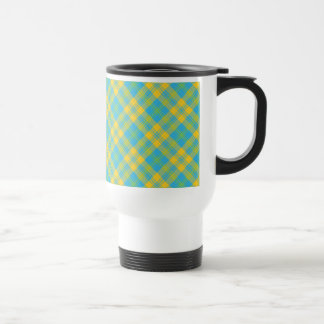 Non-spill Travel Mug: Blue, Yellow, Green Plaid Travel Mug