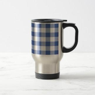 Non-spill Travel Mug Dark Blue Check Gingham