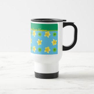 Non-spill Travel Mug Personalize Primroses Polkas