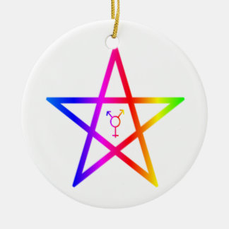 Nonbinary transgender rainbow pentagram ceramic ornament