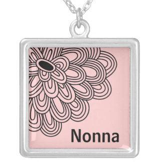 Nonna Necklace Trendy Black Flower on Pink