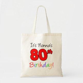 Nonna's 80th Birthday Fun and Colorful Tote Bag