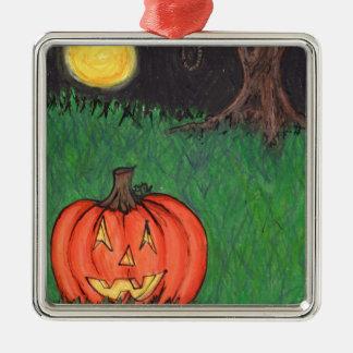 Noose Hanging Tree Pumpkin Jack O' Lantern Metal Ornament