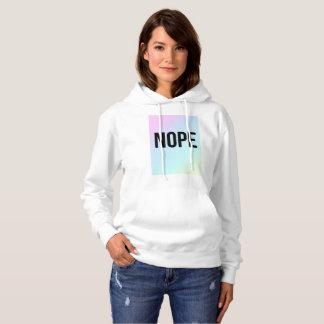 Nope Slogan Pastel Print White Hoodie