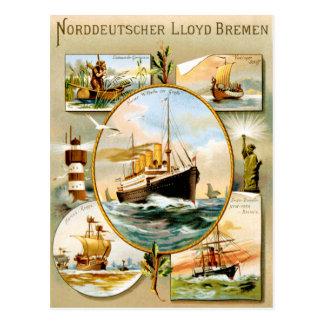 Norddeutscher Lloyd Bremen Vintage Travel Poster Postcard