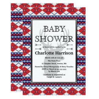 Nordic Argyle Sweater Pattern Winter Baby Shower Card