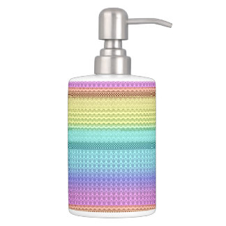 Nordic Boho Bohemian Tribal Rainbow Unique Aztec Soap Dispenser And Toothbrush Holder