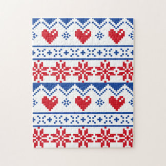 Nordic Christmas in Red & Blue Puzzle