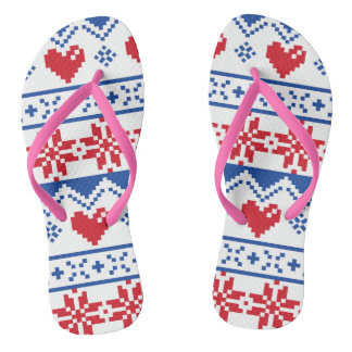 Nordic Christmas in Red & Blue Thongs