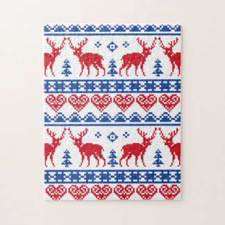 Nordic Christmas Reindeer Pattern Puzzles
