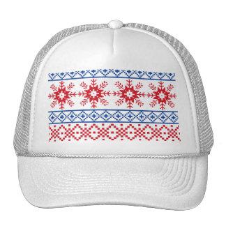 Nordic Christmas Snowflake Borders Cap