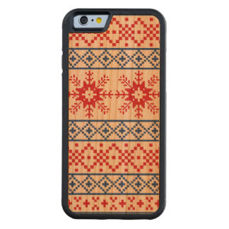 Nordic Christmas Snowflake Borders Carved Cherry iPhone 6 Bumper Case