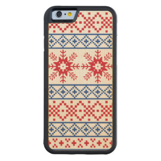 Nordic Christmas Snowflake Borders Carved Maple iPhone 6 Bumper Case