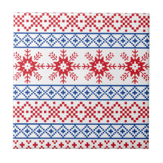 Nordic Christmas Snowflake Borders Ceramic Tile