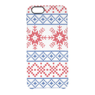 Nordic Christmas Snowflake Borders Clear iPhone 6/6S Case