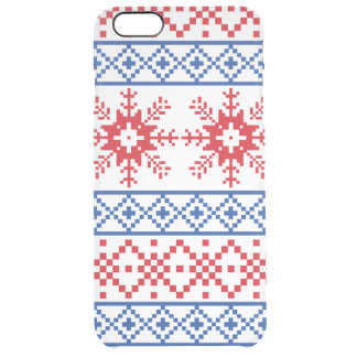 Nordic Christmas Snowflake Borders Clear iPhone 6 Plus Case
