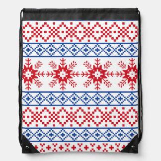 Nordic Christmas Snowflake Borders Drawstring Bag