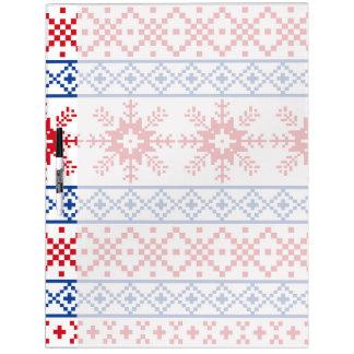 Nordic Christmas Snowflake Borders Dry Erase Board